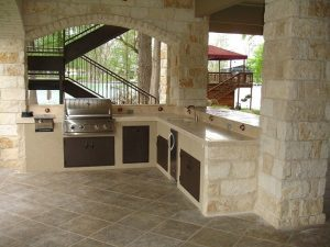 Concrete and stainless-steel outdoor kitchens